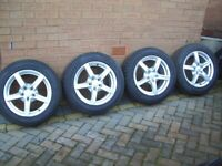Car Tyres and Alloy Wheels. Set of 4. Offers Around £395. Pirelli and Alutec.