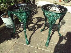 Pair of Bistro Style Cast Iron Tables