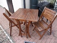 Garden Patio Wood Table And Two Chairs Easy Fold Away