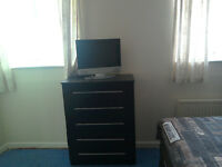 wardrobe, chest of drawers and 2 x bedside cabinets (full set £150.00)