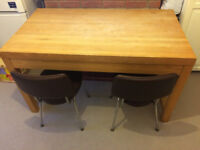 dining table + 2 brown leather chairs for sale- from a smoke&pet free house