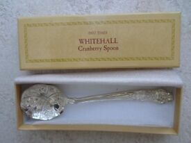 PAST TIMES WHITEHALL VINTAGE SILVER PLATED CRANBERRY SPOON - £7