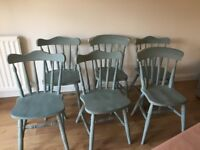 Country cottage shabby chic set of 6 dining chairs *need some tlc*