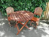 Wooden folding garden table chairs