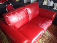 3 seater and 2 seater red leather sofa - free. Fairly worn leather. Collection only.