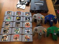N64 with 15 games and 4 pads