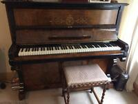Ibach Upright piano and antique Barley Twist Piano Stool.