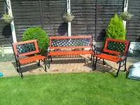 Reduced garden bench and matching chairs cast iron and wood