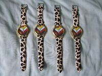 Ladies Watches with plastic coated strap Leopard print effect x4