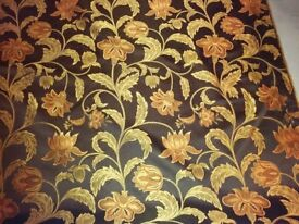 Black and gold curtain fabric