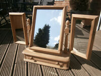 Solid PIine Farmhouse Dressing Table Mirror With Drawer