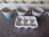 Ceramic egg holder and three M&S mugs very good condition