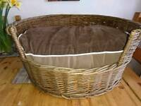 Sturdy wicker dog basket
