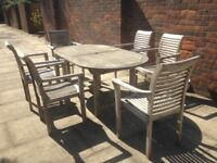 Teak Garden Table Set with 6 Chairs Very Well Made Solid Teak Wood Garden or Patio Set