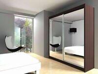 ☀️Designer Furniture-BERLIN 2&3 SLIDING DOORS WARDROBE IN 5 SIZES & IN MULTI COLORS-CALL NOW