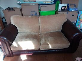 2 X Leather/Fabric Sofas from Furniture Village