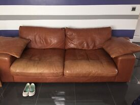 Brown leather Italian sofa, 3 seater and two seater purchased from DFS
