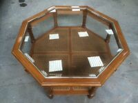 octagonal oak glass top coffee table