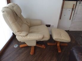 Faux leather reclining chair and footstool