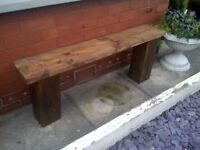 LARGE COTTAGE CHARACTER garden bench aprox 4-ft heavy- reclaimed wood protected weather proof paint