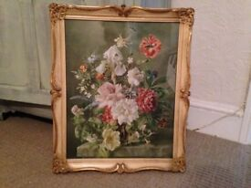 Vintage signed Barbara Shaw 'Flowerpiece 1949' in Baroque style frame-Beautiful