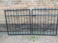 WROUGHT IRON DRIVEWAY GATES IN GOOD CONDITION AND PAINTED