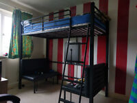 Metal Bunk Bed with Table and Seating