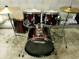"Mapex Tornado Drum kit 20"" Bass (as new) inc hardware & Cymbals"