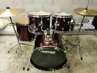 "Mapex Tornado Drum kit 20"" Bass (as new) inc hardware & Cymbals"