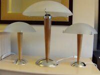 Three stylish lamps, wood/chrome/glass, ex Ikea