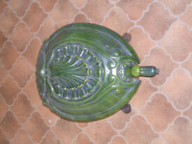ANTIQUE FRENCH CAST IRON TURTLE SHELL COAL SCUTTLE
