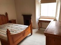 Beautiful Solid Chunky Pine Kingsize Bed With Matching Bedside Cabinet