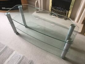 Television / Entertainment stand - heavy duty tempered glass