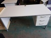 White office desk with 3 drawers good condition and excellent quality desks
