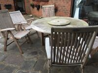 Garden table and 5 chairs wooden