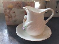 Swan creamer jug and saucer