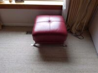 2x red leather 3 seater settte's and footstool