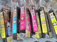 6 Genuine Epson Daisy printer ink cartridges 1xCyan, 2xMagenta, 3xYellow, new & unused in shrinkwrap