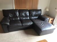 3 seater chaise faux brown leather sofa