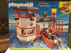 Playmobil City Action Life Guard Station plus Coast Guard Heli