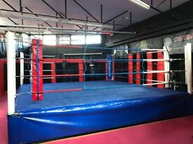 """BOXING RING FOR SALE. SOLID DESIGN 16' X 16' WITH 26"""" HIGH FLOOR"""