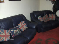genuine leather 3 and 2 sofa. dark navy.