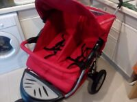 Urban Detour Mothercare double twin pushchair pram stroller in red and good condition