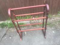 WOOD FREE STANDING TOWEL RAIL SHABBY CHIC PROJECT ** FREE DELIVERY IS AVAILABLE **