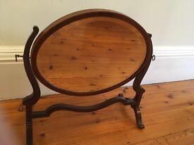 Beautiful antique dark wood dressing table mirror!
