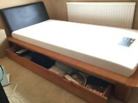 Single bed with large drawer + thick memory mattress