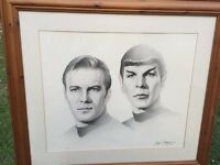 Framed drawing Captain Kirk & Spock from Star Trek
