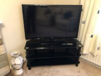 TV stand for large tv black glass and black legs