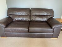 2 x Large 3 seater M&S Leather Sofas (Dark Brown) £100 each sofa