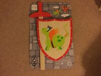 Wooden toy sword and shield - brand new